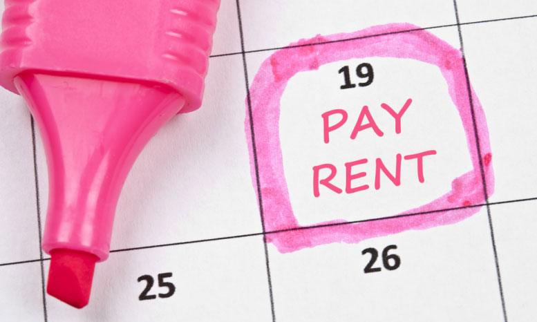 calendar showing when rent must be paid