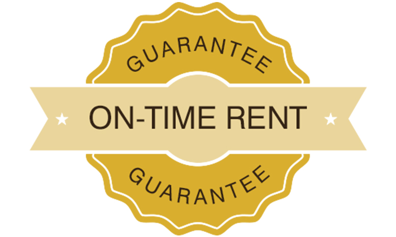 badge showing on-time rent guarantee