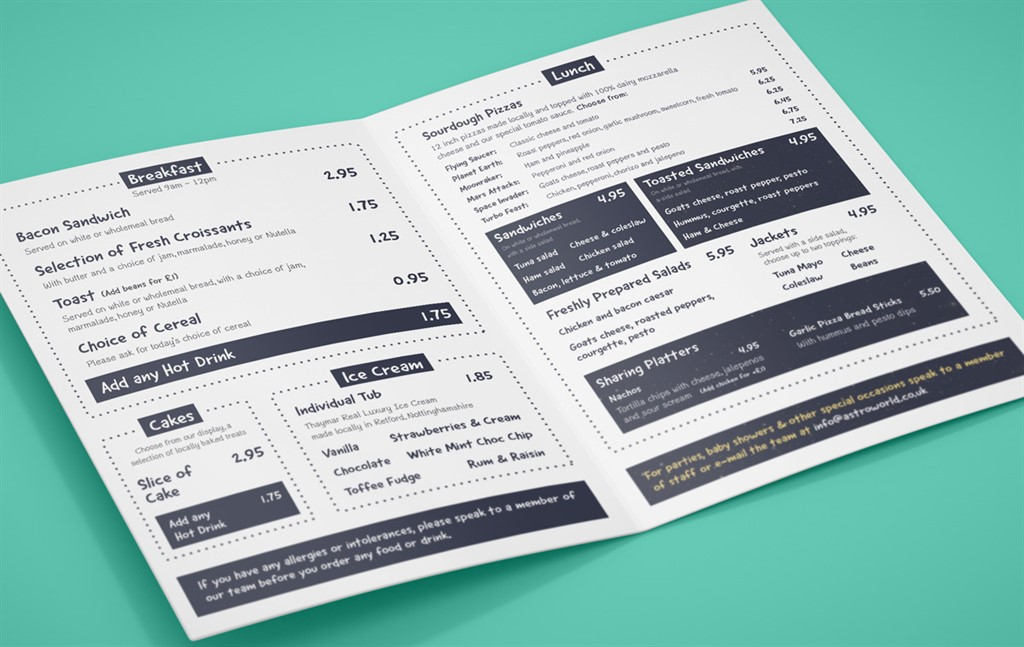 Space-Aged Menu Design for Local Soft Play Area - Hood Digital